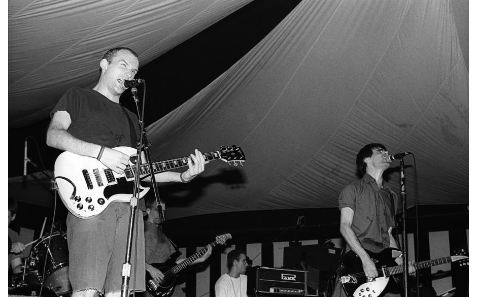 Fugazi performing at the Roseland, NY on September 23, 1993.