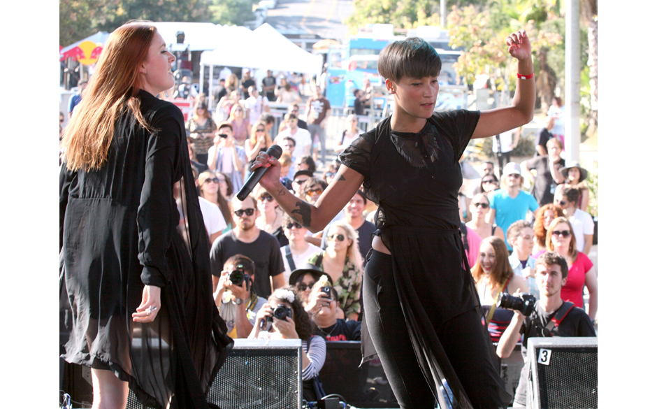 LOS ANGELES, CA - OCTOBER 07:  Caroline Hjelt  and Aino Jawo of the musical group  Icona Pop performing at the 3rd Annual Fil