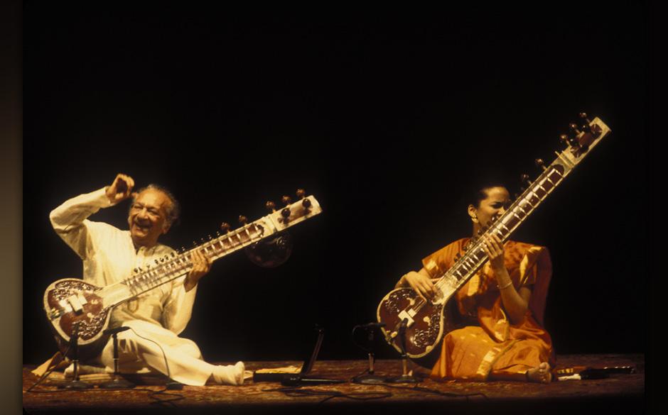 Ravi and Anoushka Shankar performing at Carnegie Hall in New York City on November 18, 2001.