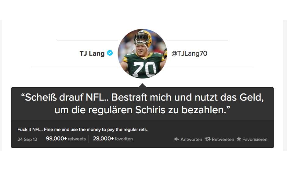 Footballer TJ Lang ist sauer: Im September lagen die Seattle Seahawks gleichauf mit den Green Bay Packers. Eine fragwürdige