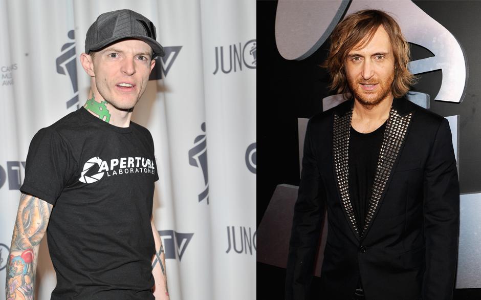 David Guetta vs. Deadmau5. 'Der spielt ja gar nicht live' meckert Deadmau5. Guettas Verteidigung fällt eher schwach aus.