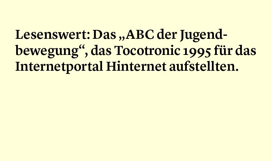Faktum 40: Tocotronics ABC der Jugendbewegung
