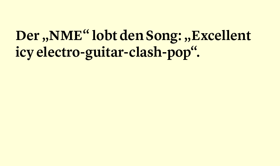 Faktum 86: der NME über Tocotronic