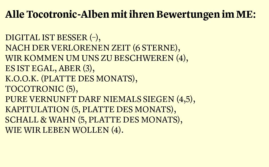 Faktum 99: Die ME-Bewertungen zu allen Tocotronic Alben.