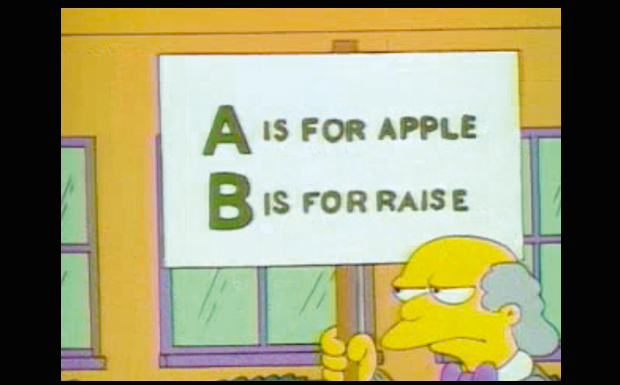 'A is for apple, B is for raise'