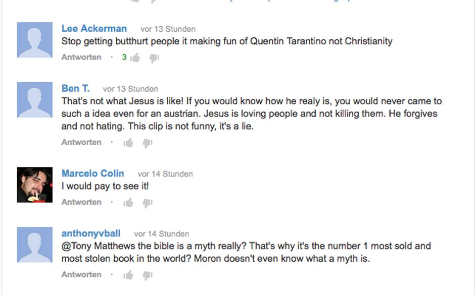 Tarantino-Fans und Jesus-Freaks streiten sich.