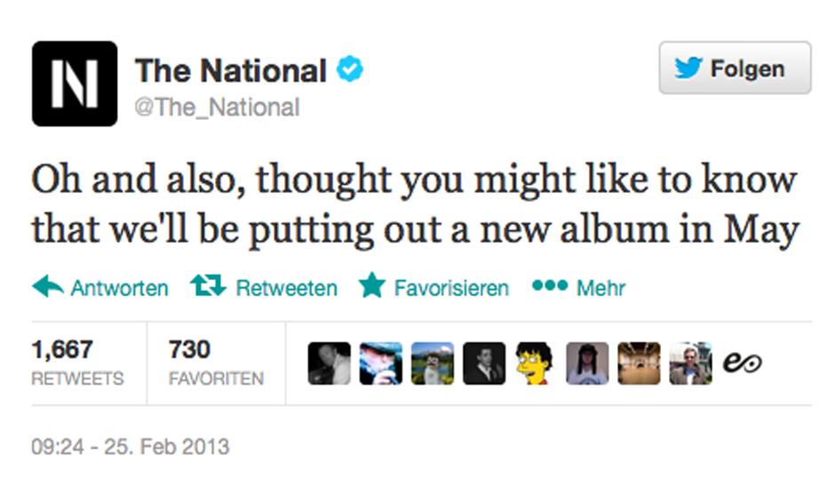 The National twittern ganz beiläufig über ihr neues Album