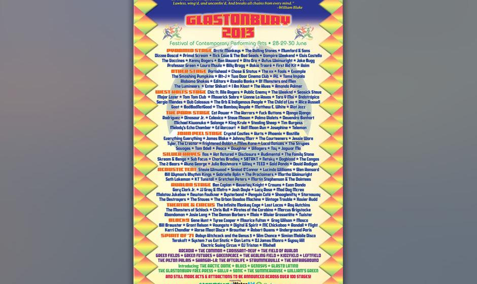 Glastonbury 2013: Plakat mit Line-Up