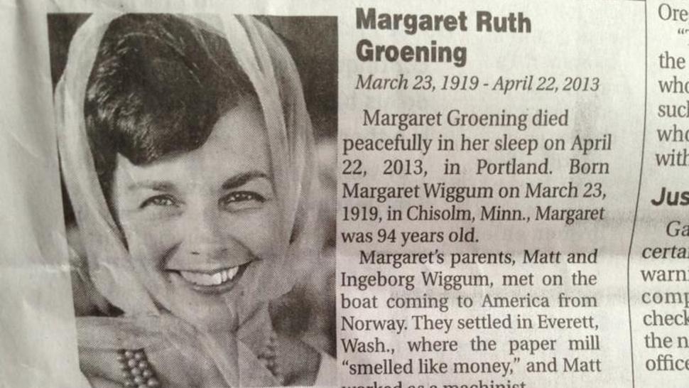 Margaret Ruth Groening - 1919-2013