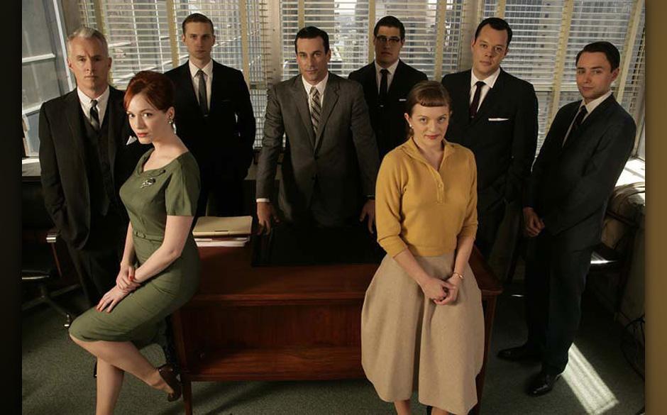 The cast of Mad Men: Roger Sterling (John Slattery), Joan (Christina Hendricks), Ken (Aaron Staton), Don Draper (Jon Hamm), H