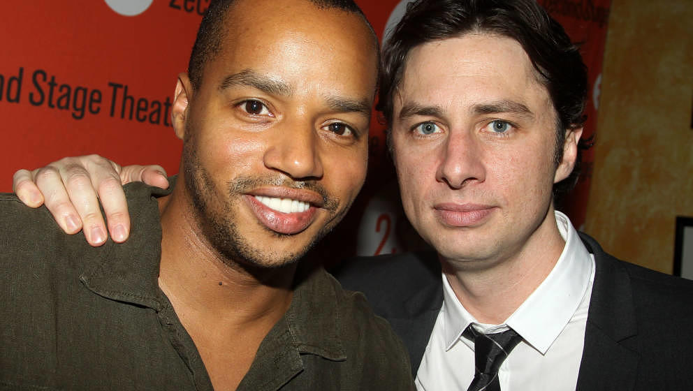 NEW YORK - AUGUST 12:  Donald Faison (L) and Zach Braff (costars of 'Scrubs') pose at the 'Trust' Off-Broadway opening night