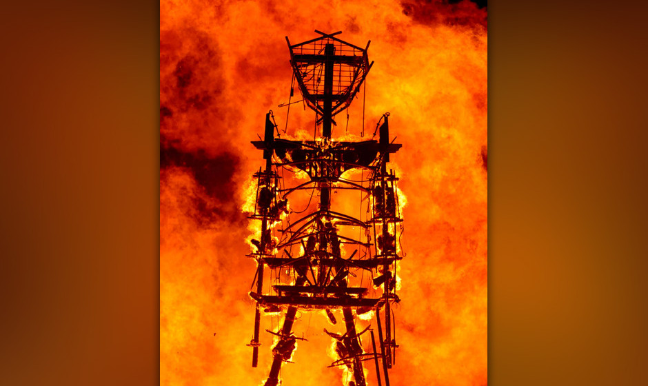 The 'Man' burns on the Black Rock Desert at Burning Man near Gerlach, Nev. on Saturday, Aug. 31, 2013.  U.S. Bureau of Land M