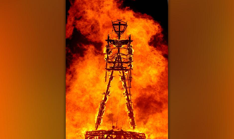 The 'Man' burns on the Black Rock Desert at Burning Man near Gerlach, Nev. on August 31, 2013.U.S. Bureau of Land Management