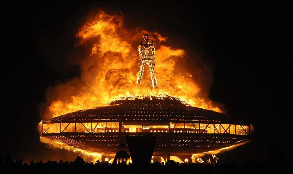 The 'Man' burns on the Black Rock Desert at Burning Man near Gerlach, Nev. on Aug. 31, 2013.  U.S. Bureau of Land Management