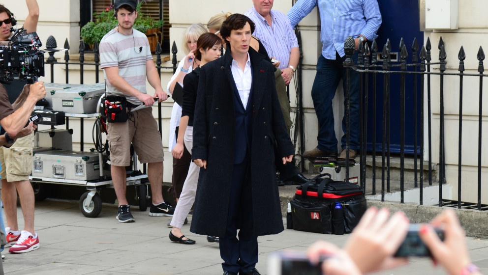 LONDON, UNITED KINGDOM - AUGUST 21: Benedict Cumberbatch sighted filming in North London on August 21, 2013 in London, Englan
