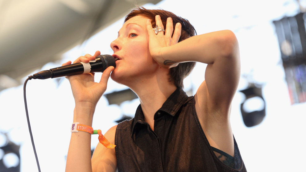 INDIO, CA - APRIL 12:  Singer Channy Leaneagh of Polica performs onstage during day 1 of the 2013 Coachella Valley Music &