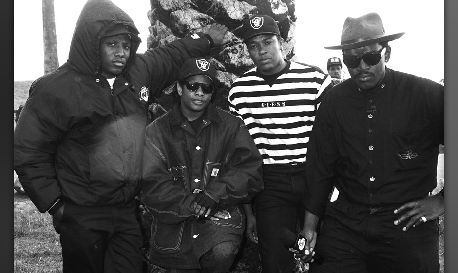 N.W.A. featuring MC Ren, Eazy E, Dr. Dre and Fab 5 Freddy (Photo by Jeff Kravitz/FilmMagic)