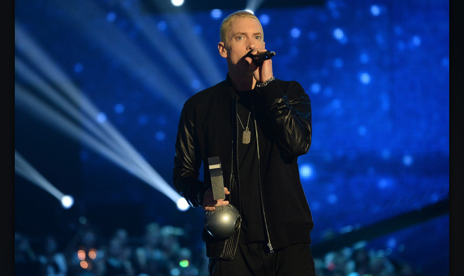 AMSTERDAM, NETHERLANDS - NOVEMBER 10:  Eminem accepts the Best Hip Hop award onstage during the MTV EMA's 2013 at the Ziggo D