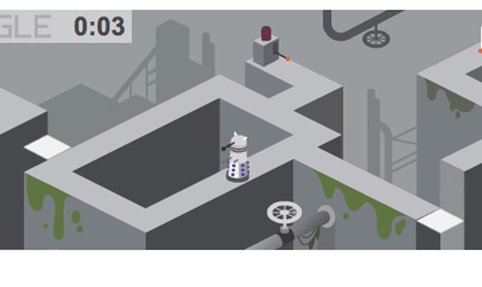 Dann geht's auch schon los mit dem Mini-Spiel gegen Daleks und andere altbekannte Feinde.