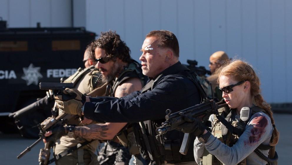 Joe Manganiello, Arnod Schwarzenegger und Mireille Enos am SEit von 'Sabotage'