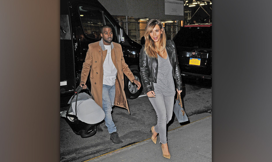 NEW YORK, NY - NOVEMBER 22:  Kanye West and Kim Kardashian are seen on November 22, 2013 in New York City.  (Photo by NCP/Sta