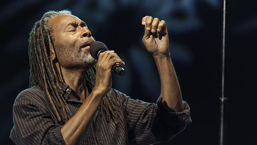American Jazz and Pop vocalist Bobby McFerrin performs with his band at Central Park SummerStage, New York, New York,  August