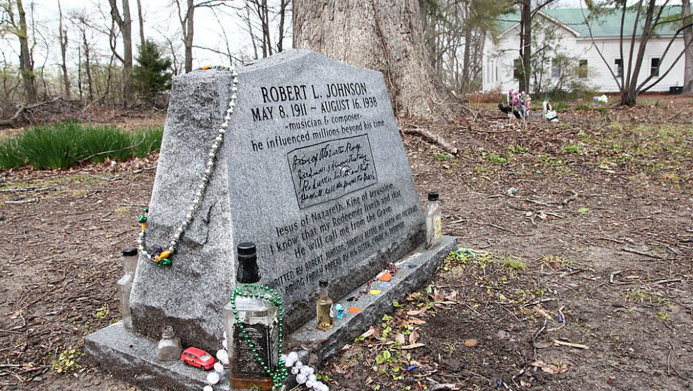 One of three different headstones and possible burial sites for blues musician Robert Johnson. It is located at Little Zion M