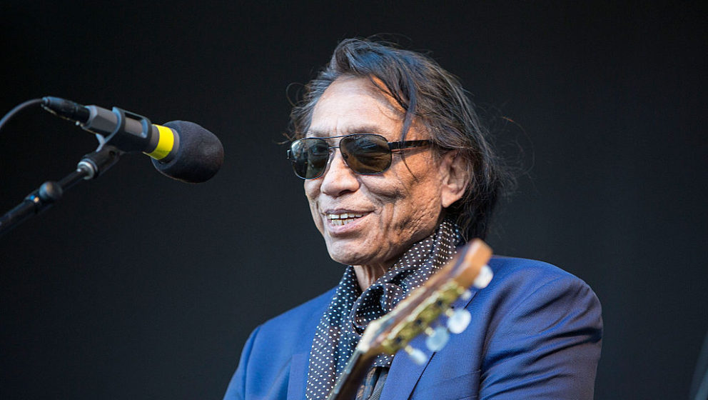 SAN DIEGO, CA - JUNE 19:  Singer/songwriter Rodriguez performs on stage in support of Brian Wilson and Al Jardine at Humphrey