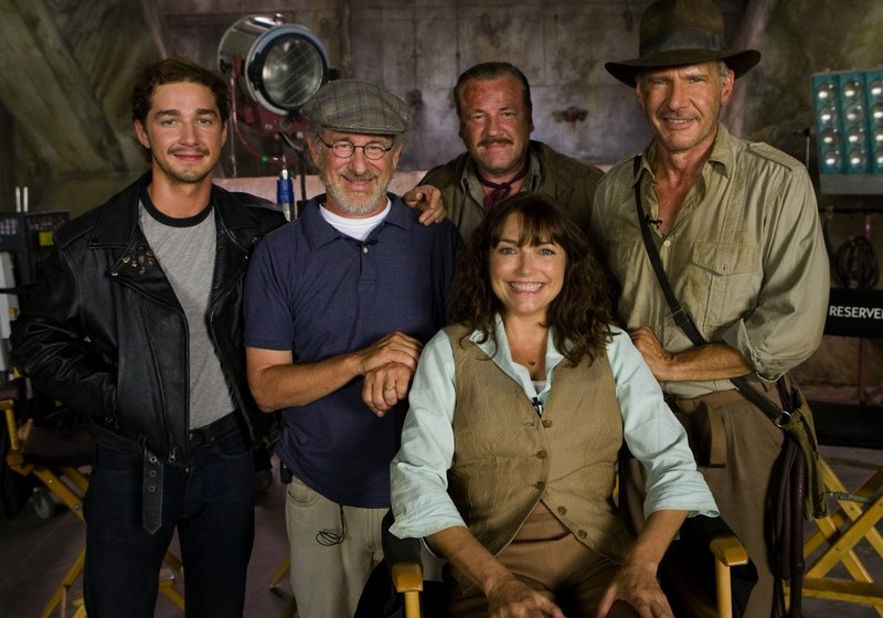 From left to right, actor Shia LaBeouf, director Steven Spielberg, and actors Ray Winstone, Karen Allen and Harrison Ford gre