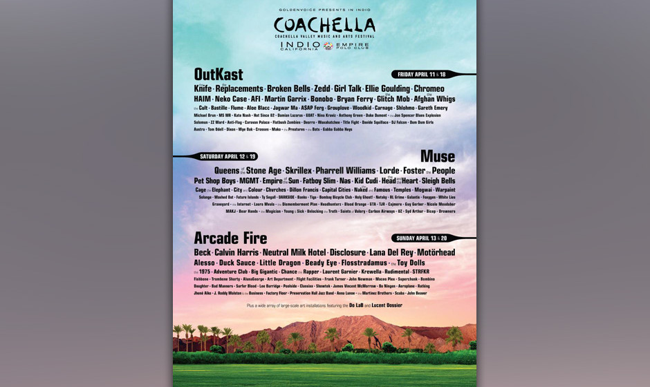 Das Line-up für das Coachella Valley Music and Arts Festival steht fest.