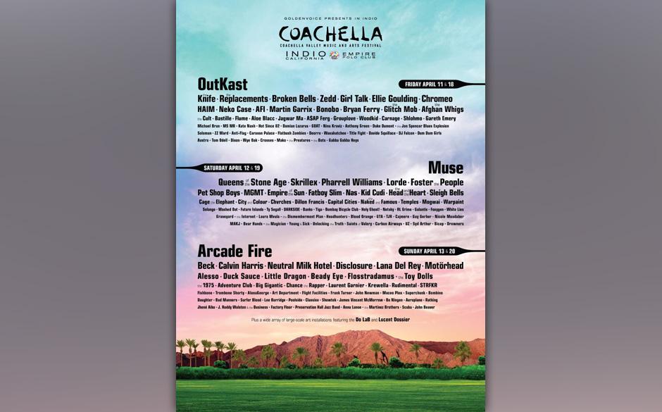Das Line-up für das Coachella Valley Music and Arts Festival steht fest.