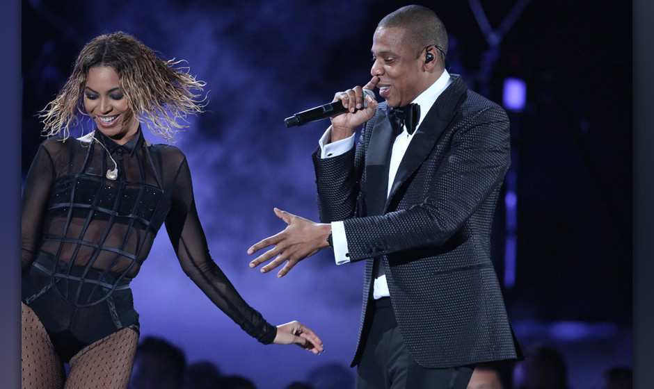 Beyonce, left, and Jay-Z perform 'Drunk in Love' at the 56th annual Grammy Awards at Staples Center on Sunday, Jan. 26, 2014,