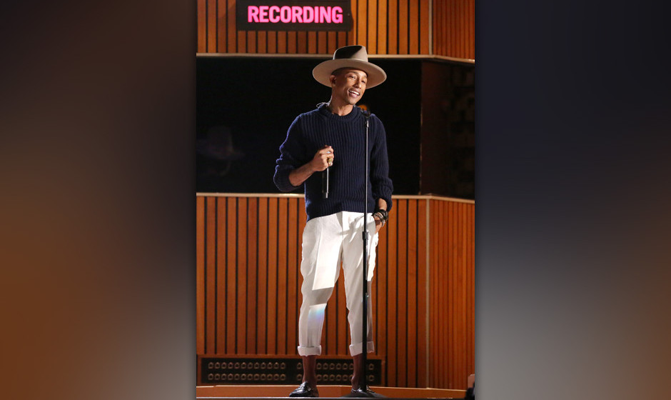 Pharrell Williams performs at the 56th annual Grammy Awards at Staples Center on Sunday, Jan. 26, 2014, in Los Angeles. (Phot