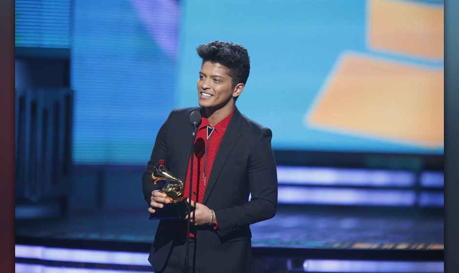 Image #: 26817097    Bruno Mars on stage during the 56th Annual Grammy Awards in Los Angeles on January 26, 2014.   CBS/Cliff