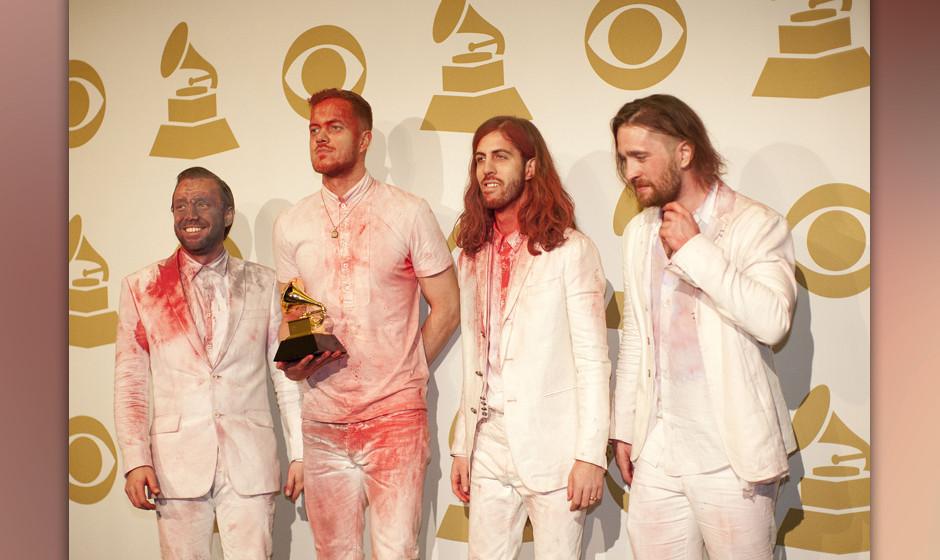 Jan. 26, 2014 - Los Angeles, California, U.S - Ben McKee, Ben Reynolds, Wayne Sermon and Dan Platzman of Imagine Dragons in t