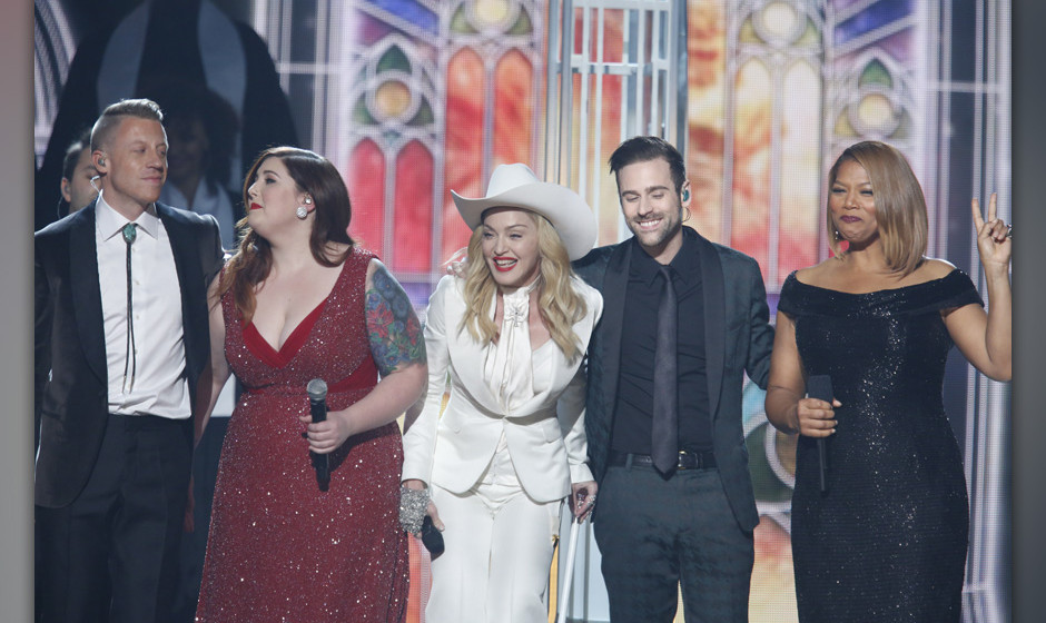 Image #: 26818600    Macklemore, Mary Lambert, Madonna, Ryan Lewis, and Queen Latifah perform on stage during the 56th Annual