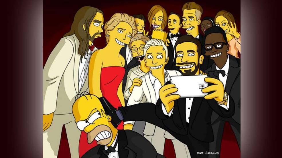 Ellen DeGeneres Twitter-Selfie der Oscars, stilecht von den Simpsons nachgestellt.