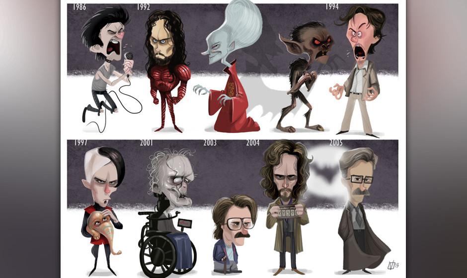 Oben: Sid Vicious ('Sid & Nancy'), Dracula ('Dracula'), Stansfield ('Léon: Der Profi') Unten: Jean-Baptiste Emanuel Zorg ('D