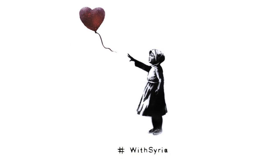 Graffiti-Künstler Banksy adaptierte auch für die Aktion #withsyria sein bekanntestes Werk...