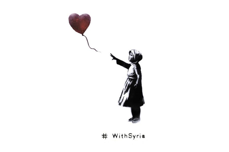 Graffiti-Künstler Banksy adaptierte für die Aktion #withsyria sein bekanntestes Werk...