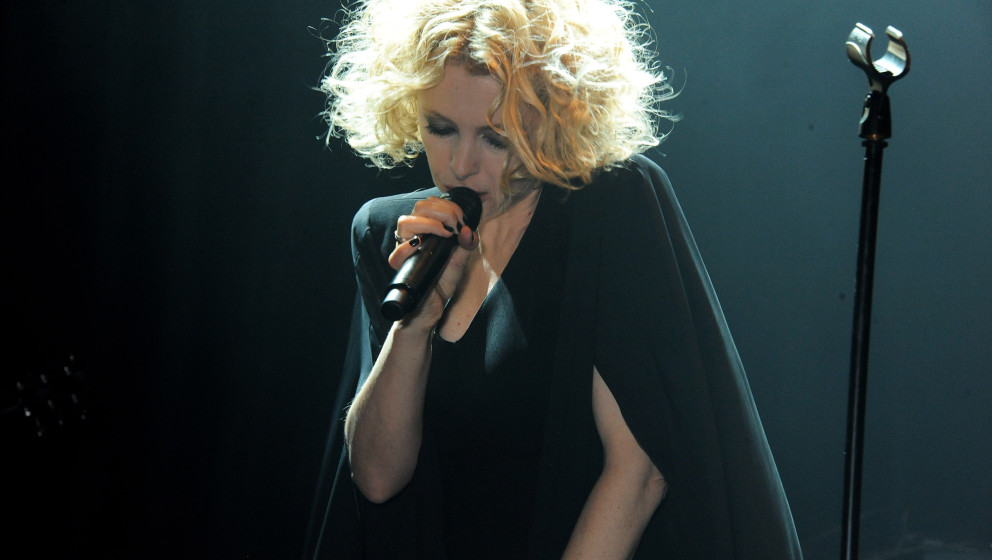 LONDON, ENGLAND - OCTOBER 02:  Alison Goldfrapp performs at the Vertu launch of the new Constellation smartphone at One Mayfa