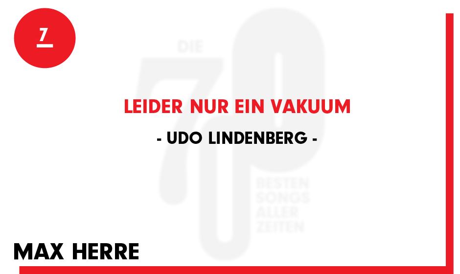 7. Udo Lindenberg - 'Leider nur ein Vakuum'
