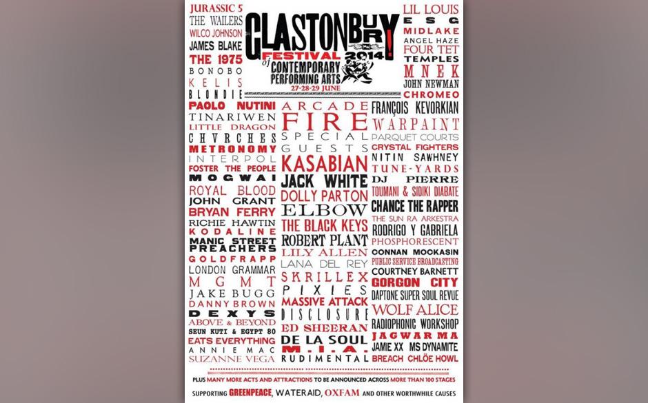 Das Glastonbury Festival 2014 hat sein Line-Up bekanntgegeben.