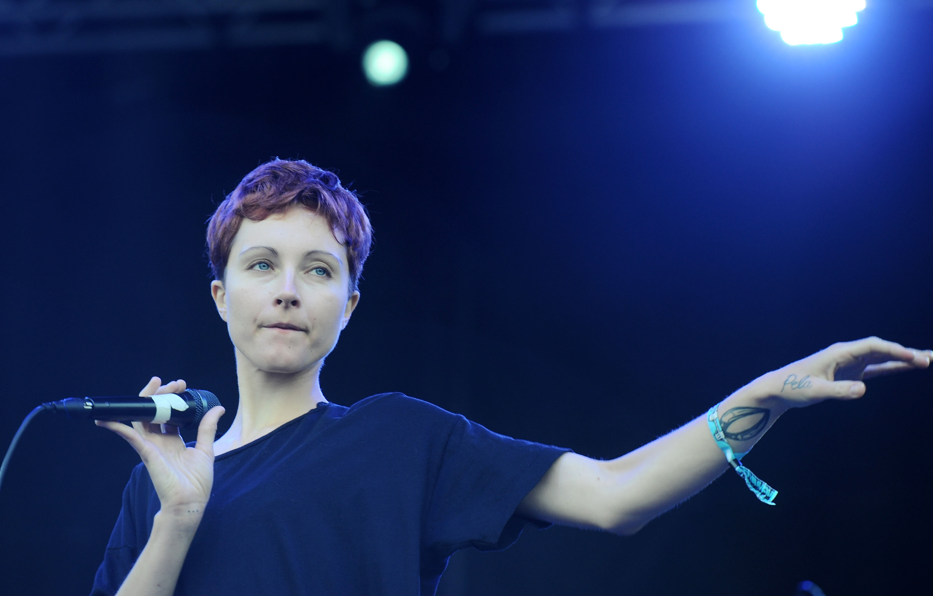 NEW YORK, NY - JUNE 07:  Channy Leaneagh of the band Polica performs during 2013 Governors Ball Music Festival at Randall's I
