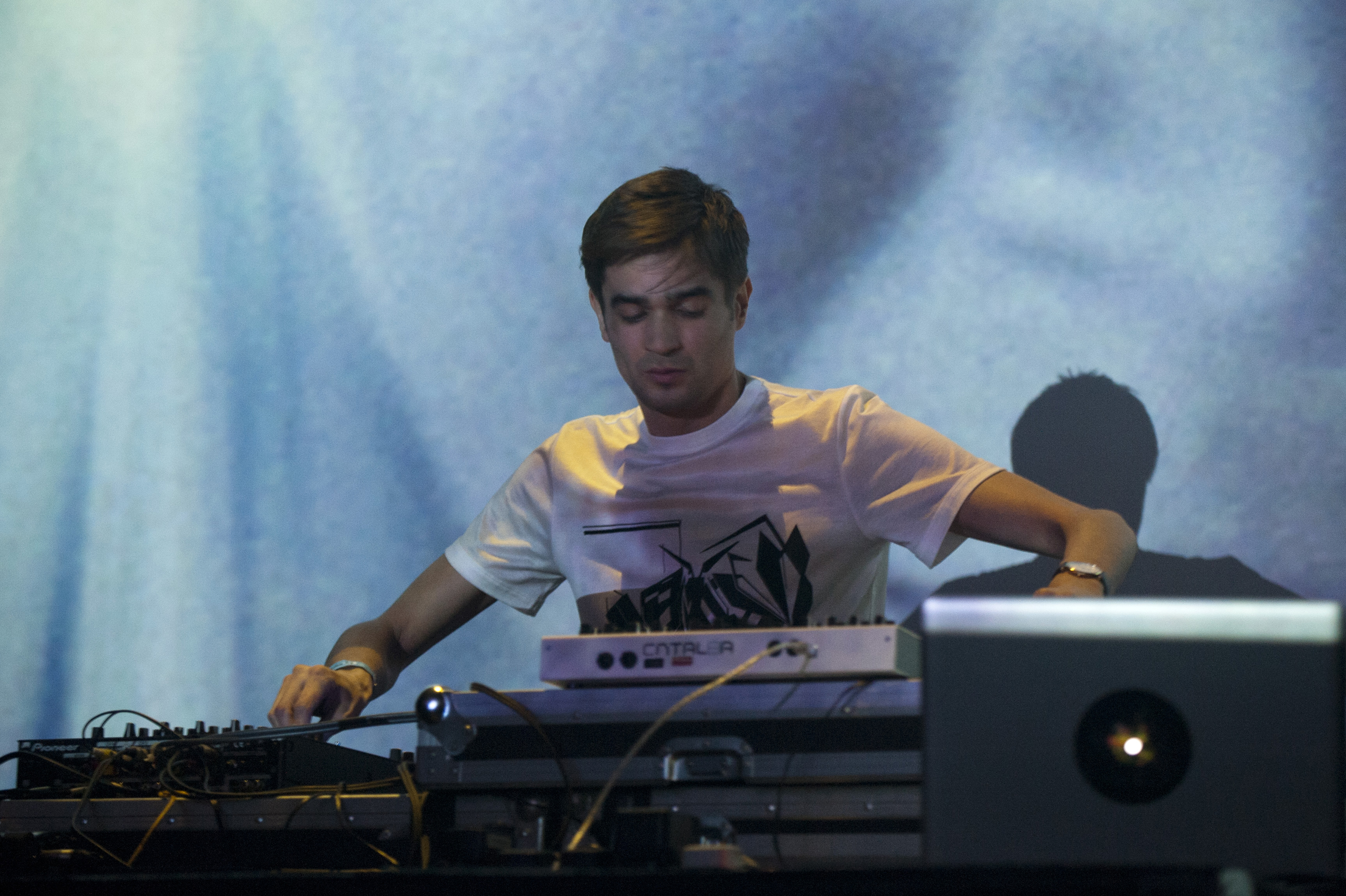 LONDON, UNITED KINGDOM - FEBRUARY 22: Jon Hopkins performs on stage at The Forum on February 22, 2014 in London, United Kingd