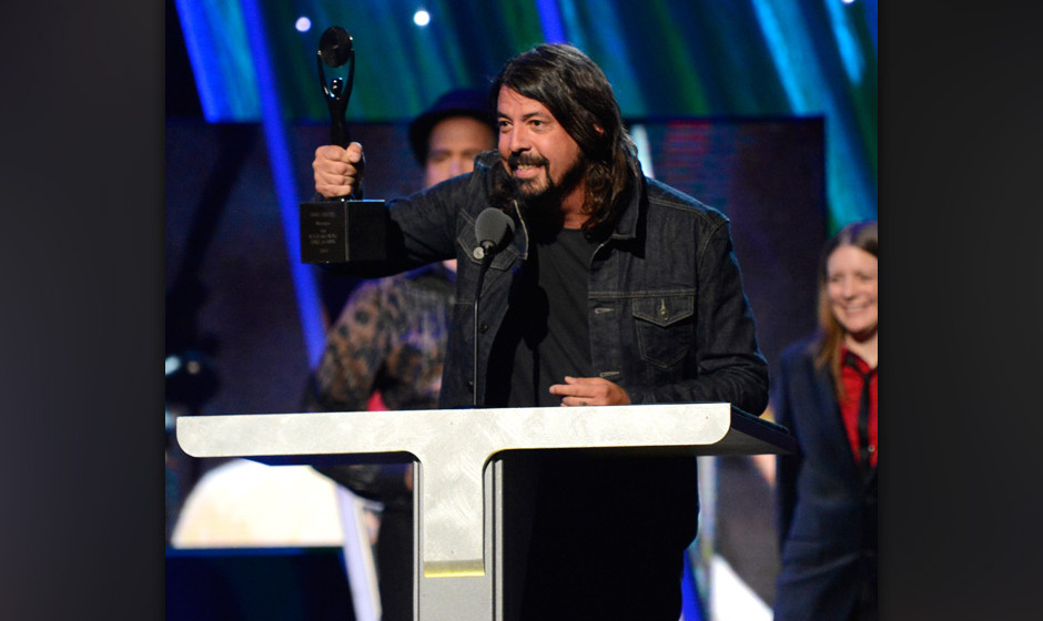 NEW YORK, NY - APRIL 10:  Dave Grohl speaks onstage at the 29th Annual Rock And Roll Hall Of Fame Induction Ceremony at Barcl