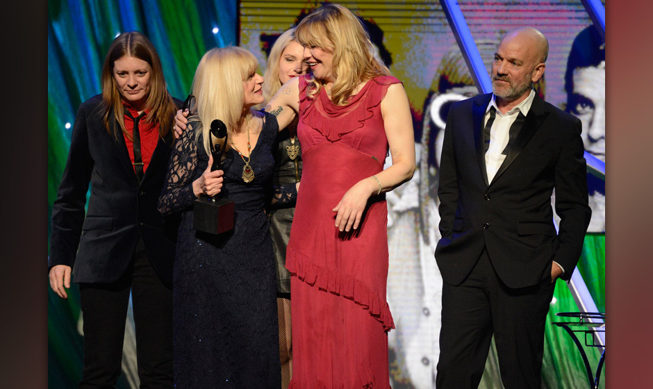 NEW YORK, NY - APRIL 10:  Kimberly Cobain, Wendy O'Connor and Courtney Love onstage at the 29th Annual Rock And Roll Hall Of