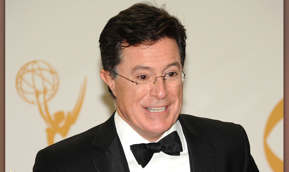 LOS ANGELES, CA - SEPTEMBER 22:  Stephen Colbert poses in the press room at the 65th annual Primetime Emmy Awards at Nokia Th
