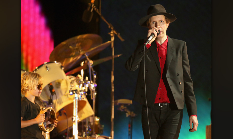 INDIO, CA - APRIL 13:  Musician Beck performs onstage during day 3 of the 2014 Coachella Valley Music & Arts Festival at