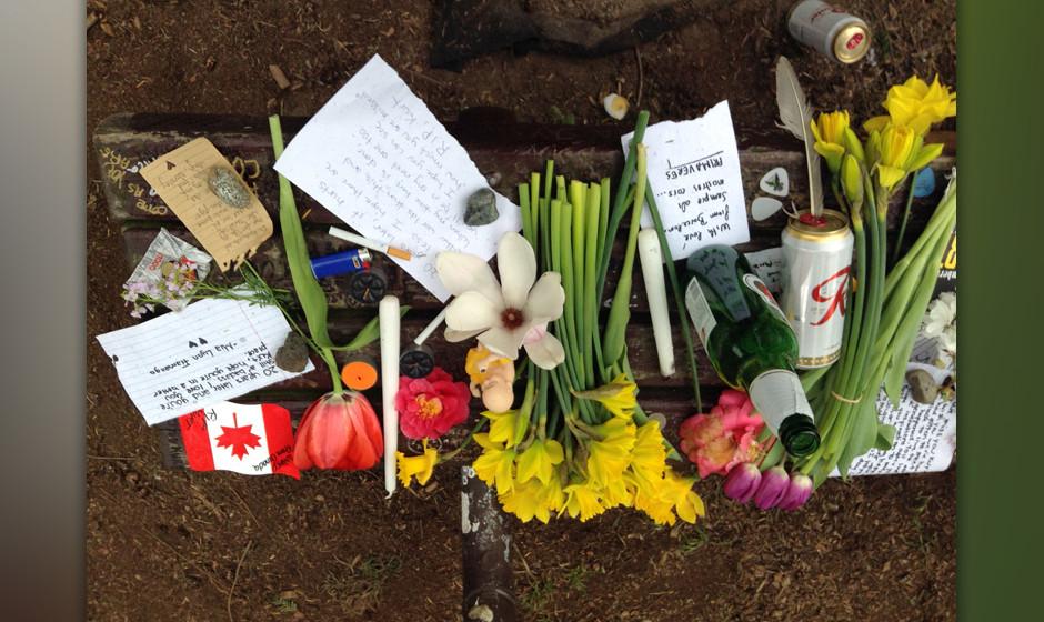 Die Kurt Cobain Memorial Bench im Viretta Park in Seattle.